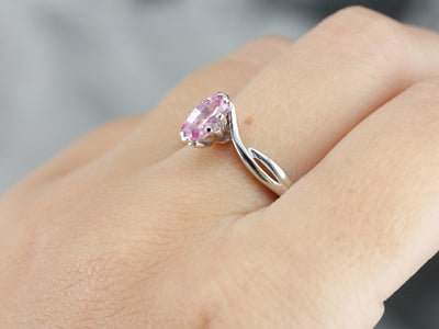 Modern Pink Sapphire Solitaire Ring