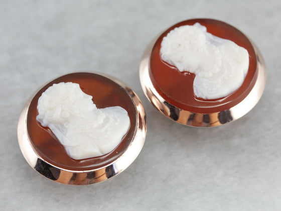 Antique Sardonyx Cameo Cufflinks