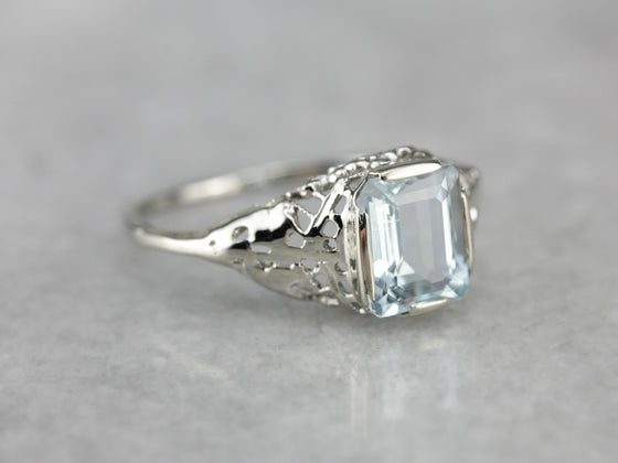Aquamarine Solitaire Ring in Art Deco Setting