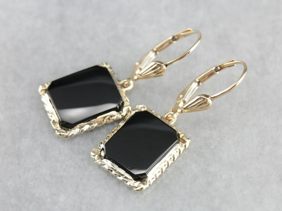Black Onyx and Gold Drop Earrings