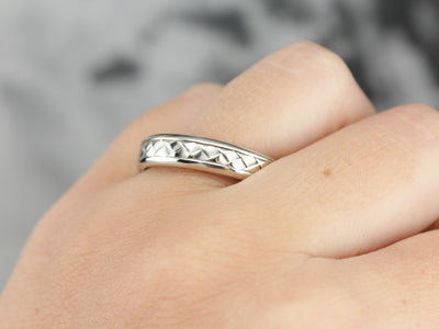 White Gold Woven Wedding Band