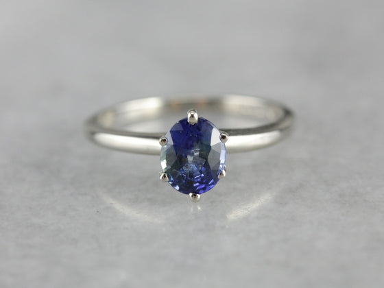 Tonal Blue Sapphire White Gold Solitaire Engagement Ring
