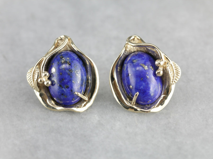 Vintage Lapis Earrings in Yellow Gold