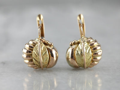 Retro Era Gold Leaf Drop Earrings