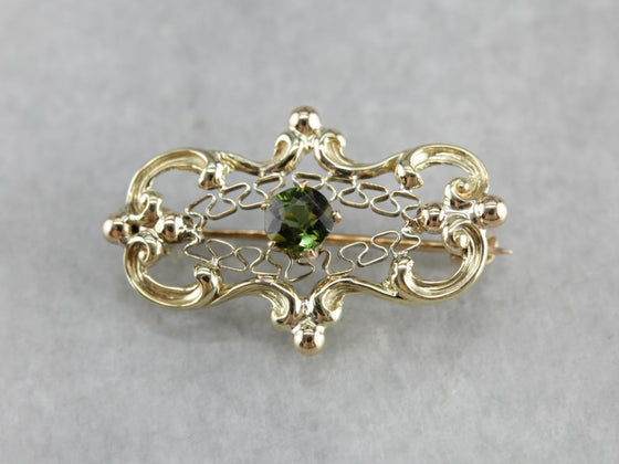 Antique Green Tourmaline Brooch