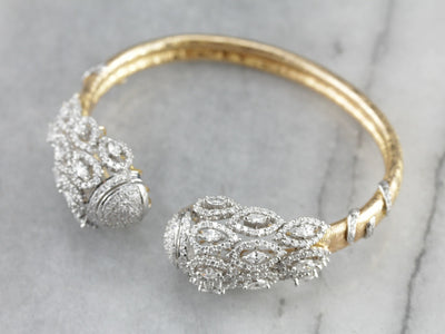 Diamond Encrusted Gold Cuff Bracelet