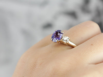 Sapphire and Old Mine Cut Diamond Ring