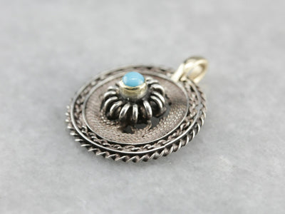 Turquoise Mixed Metal Quilled Filigree Pendant