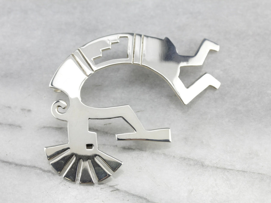 Kokopelli Sterling Silver Native American Pendant