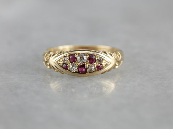 Old Mine Cut Diamond and Ruby Ring