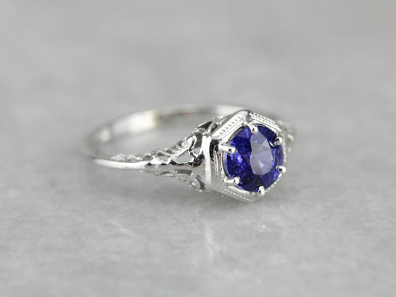 Sapphire Art Deco Engagement Ring