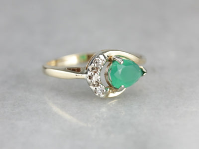 Green Onyx and Diamond Cocktail Ring