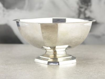 Vintage Engraved Sterling Silver Serving Bowl