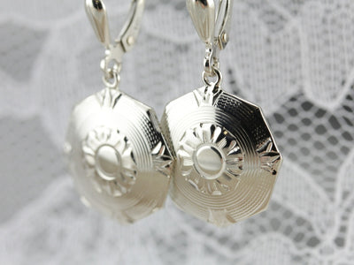 Upcycled Octagonal White Gold Drop Earrings
