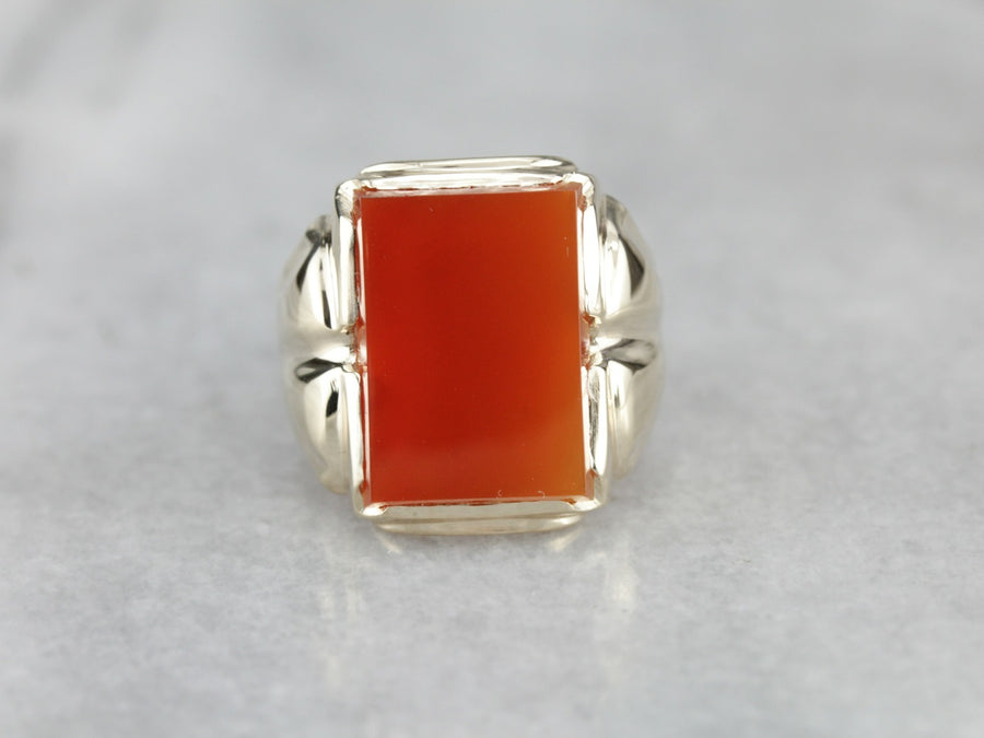 Retro Era Carnelian Gold Men's Statement Ring