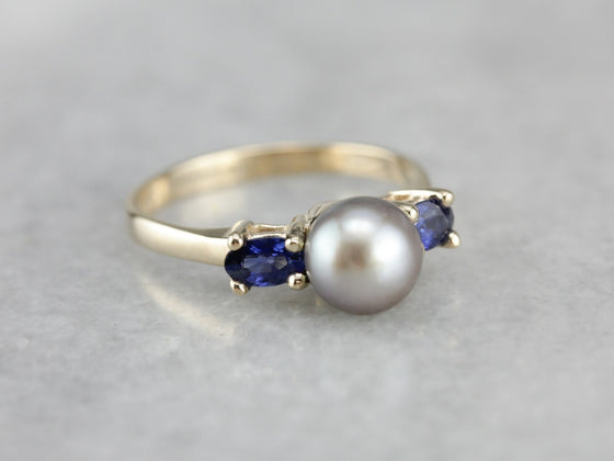 Grey Pearl and Sapphire Ring