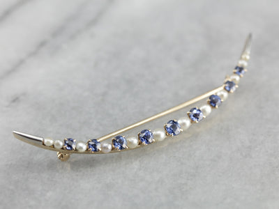 Vintage Sapphire and Pearl Crescent Moon Brooch