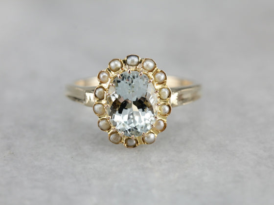 Aquamarine and Seed Pearl Ring