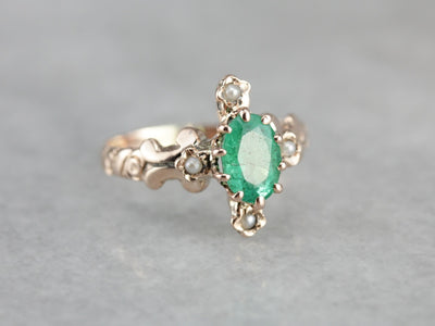 Victorian Emerald and Seed Pearl Dinner Ring