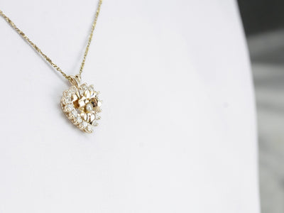 Floral Diamond and Pearl Heart Pendant