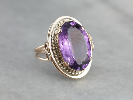 Vintage Rose Gold Amethyst Cocktail Ring