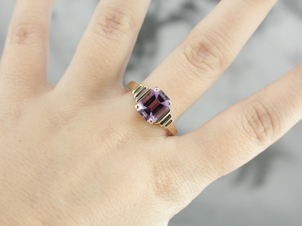 Amethyst Solitaire Ring in Yellow Gold