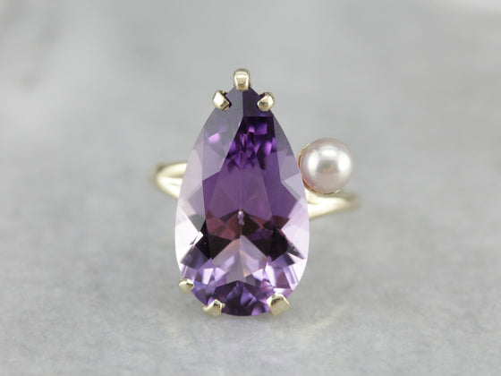Pear Cut Amethyst Pearl Cocktail Ring