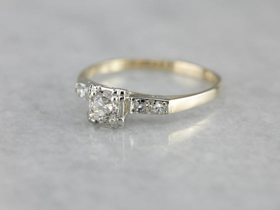 Retro Era European Cut Diamond Engagement Ring