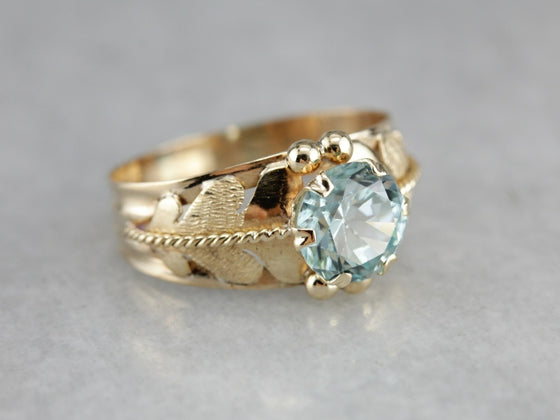 Blue Zircon Botanical Gold Statement Ring