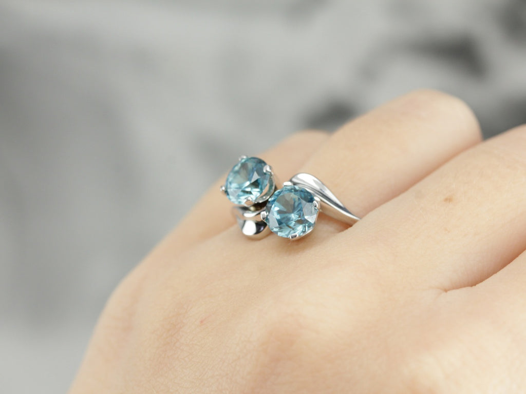 Blue Zircon Bypass Ring in White Gold