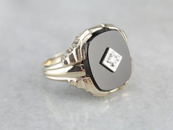 Men's Retro Era Black Onyx Ring