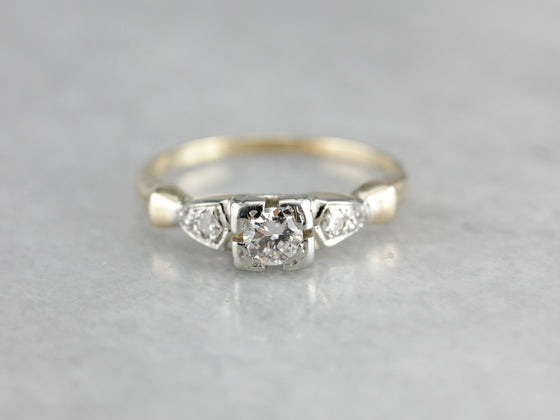 Retro Era Diamond Engagement Ring