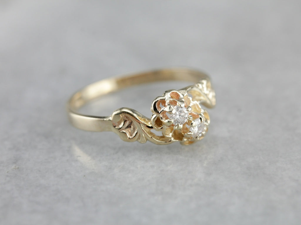 Antique Diamond Bypass Ring