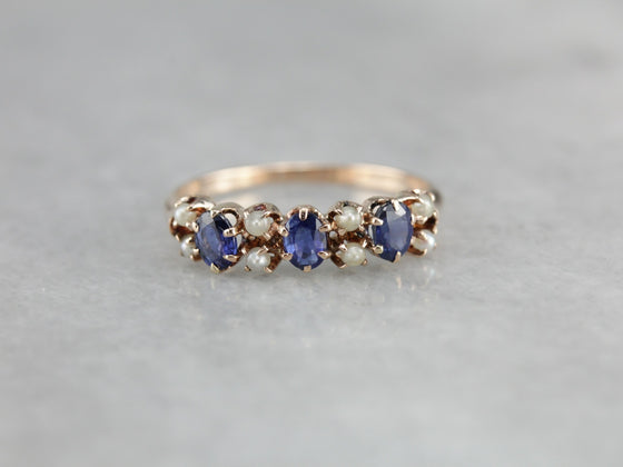 Antique Sapphire and Seed Pearl Band
