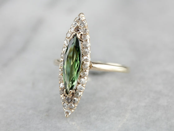 Antique Green Tourmaline and Rose Cut Diamond Ring