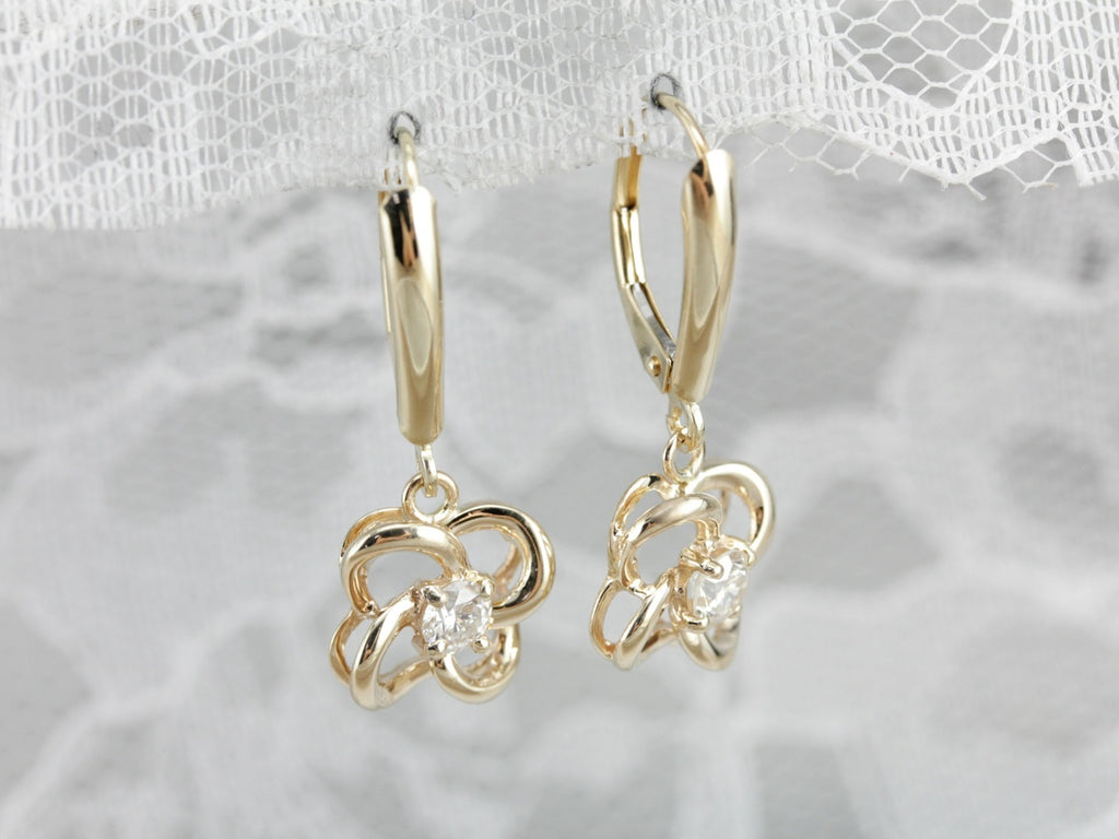 Diamond Lovers Knot Drop Earrings