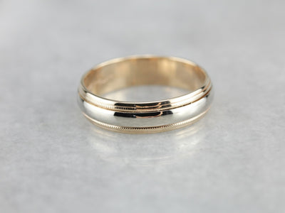 Vintage Two Tone Wedding Band