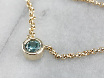 Blue Zircon Yellow Gold Necklace