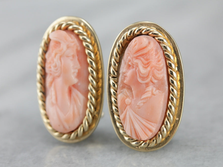 Gorgeous Carved Coral Cameo Earrings, Classic Yellow Gold Clip On Earrings
