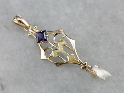 Antique Iolite and Freshwater Pearl Lavalier Pendant