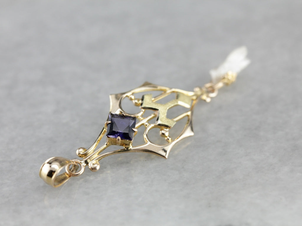 Antique Iolite and Freshwater Pearl Pendant