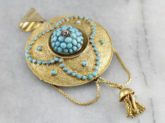 Victorian Etruscan Revival Turquoise Tassel Pendant Brooch