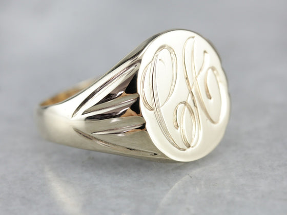"Vintage Yellow Gold Signet Ring with ""CA"" Monogram"