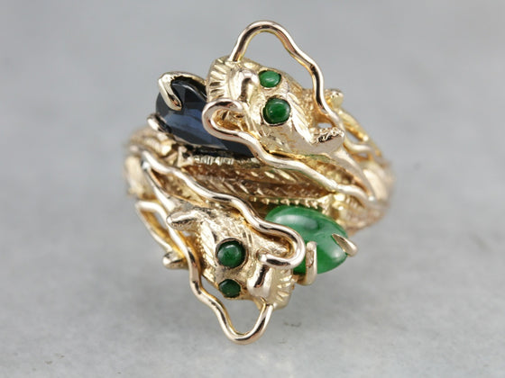 Sapphire and Jade Dragon Ring