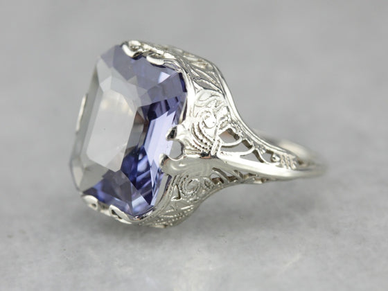 Art Deco Synthetic Alexandrite Ring