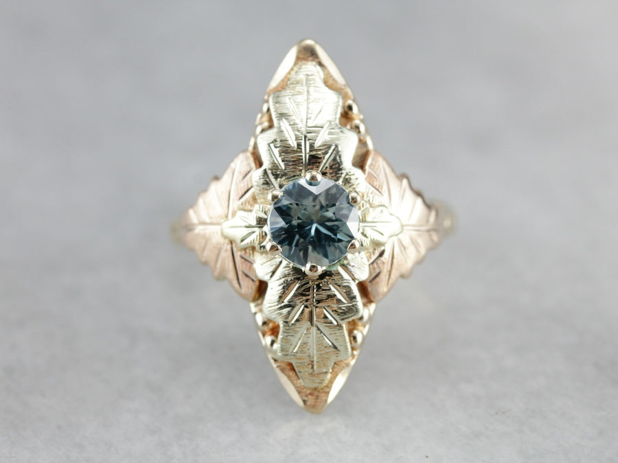 Black Hills Gold Blue Zircon Dinner Ring