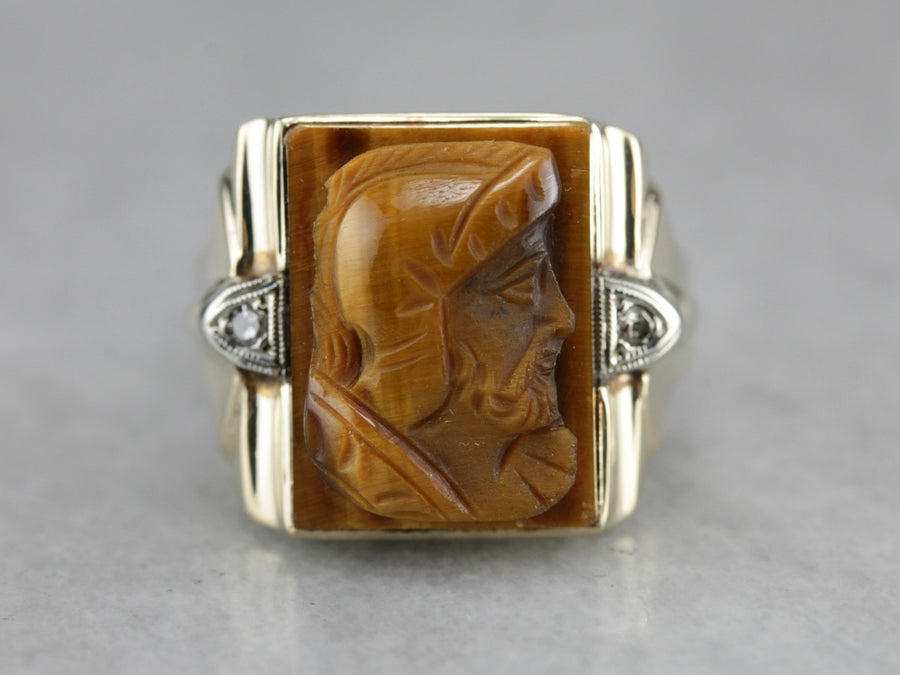Vintage Tiger's Eye Cameo Men's Ring