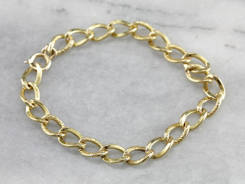 Antique Curb Chain Gold Fill Bracelet