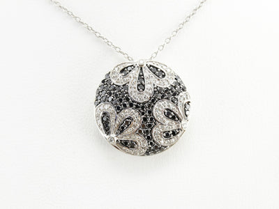 Floral Black Diamond Slide Pendant
