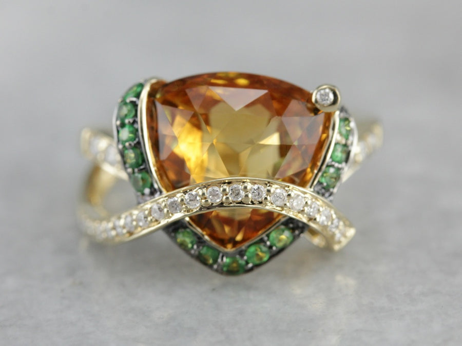 Citrine Green Garnet and Diamond Cocktail Ring